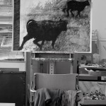 picture of bullocks on easel