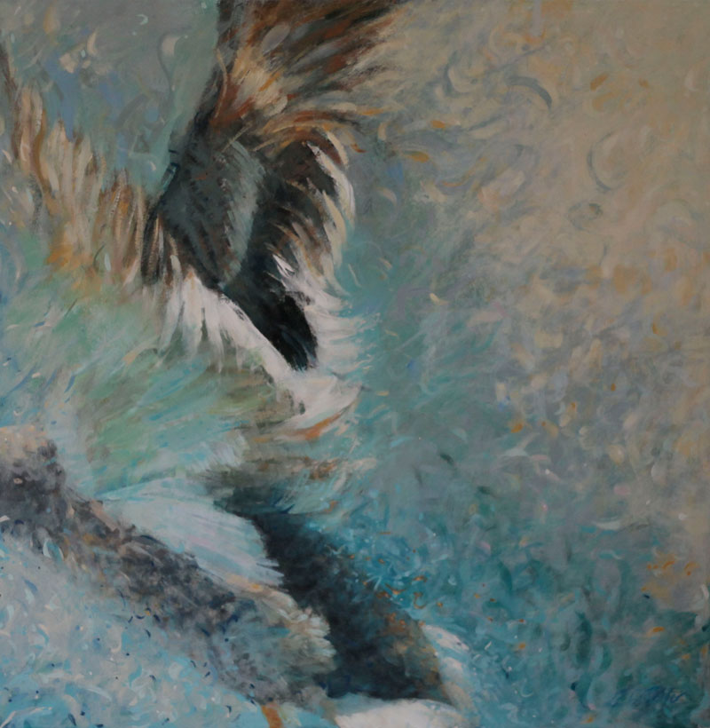 A painting of a mallard/duck taking off.