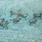 sheep running in heavy snow